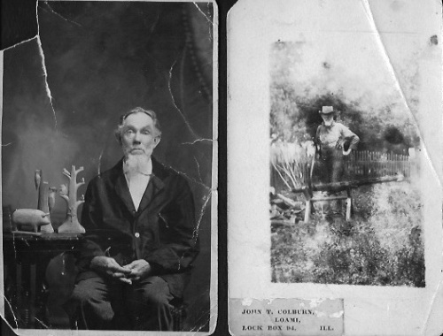 Two extant photos John T. Colburn, one with his wood carvings, the other taken as he worked.