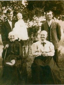Baby Harold Crawford (my  mom's brother), grandfather Josiah Crawford, great-grandfather John Crawford, great-great-grandmother Caroline Mahon Crawford, 3-great-grandmother Eliza Mahon