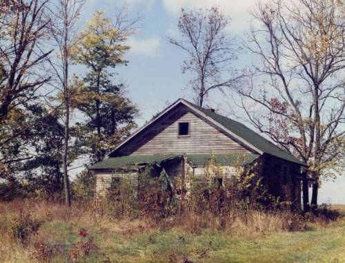 The Mahon Schoolhouse in Otego Twp near Brownstown, IL. My mother attended school here in the 1920s and early 1930s. This photo from the 1990s has hung in my office for a long time. The schoolhouse has since collapsed.